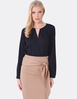 Forcast Camille Pleated Long Sleeve Top