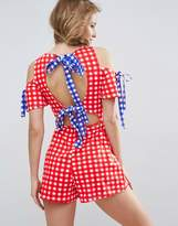 Asos Jersey Bow Back Romper in Gingham