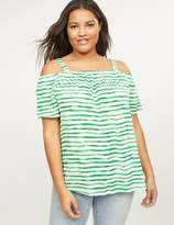 Lane Bryant Striped Off-the-Shoulder Tee