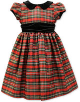 Jayne Copeland Velvet-Trim Plaid Special Occasion Dress, Toddler & Little Girls (2T-6X)