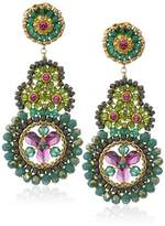 Miguel Ases Small Green Onyx Molecule Circle Multi-Swarovski Drop Earrings