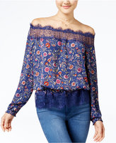 Jessica Simpson Frannie Printed Lace-Trim Off-The-Shoulder Top