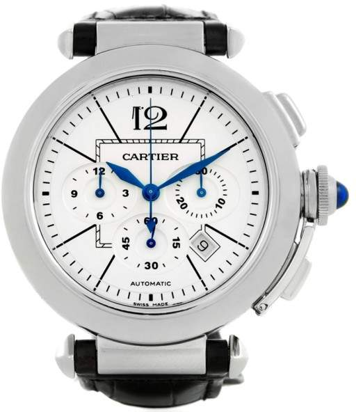Cartier Pasha W3108555 Stainless Steel & Silver Dial 42mm Mens Watch