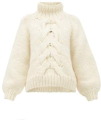 I Love Mr Mittens Cropped Cable Knit Wool Sweater - Womens - Cream