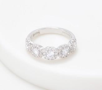 Diamonique 5 Round Cut Stone w/ Halo Ring, Sterling Silver