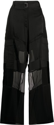 Sacai Wide Leg Sheer Panelled Trousers
