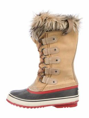 Sorel Suede Fur Trim Lace-Up Boots