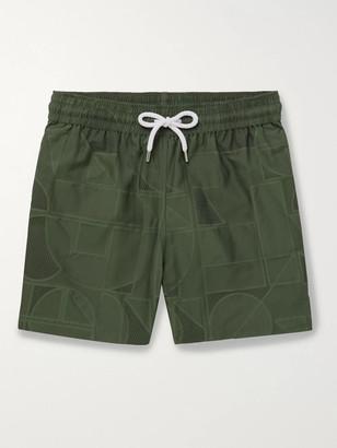 Frescobol Carioca Johannes Huebl Geo Mid-Length Swim Shorts - Men - Green