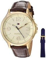 Tommy Hilfiger Women's Quartz Gold-Tone and Leather Watch, Color:Brown (Model: 1781711)