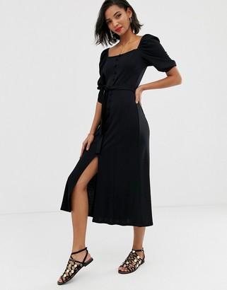 Asos Design DESIGN midi button through square neck dress with belt-Black