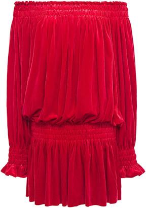 Norma Kamali Peasant Off-the-shoulder Gathered Velvet Mini Dress
