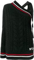 No.21 chunky knit asymmetric jumper