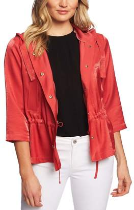 Cynthia Steffe CeCe by Shimmer Satin Hooded Jacket