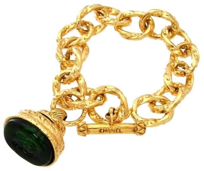 Chanel Gold Tone Metal Bangle Bracelet
