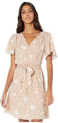 American Rose Natalia Short Sleeve Floral Wrap Dress (Taupe/White) Women's Dress