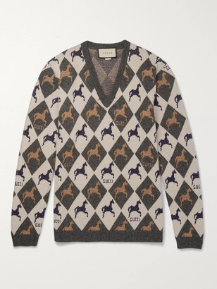 Gucci Wool-Jacquard Sweater - Men - Gray