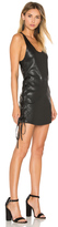RtA Fifi Lace Up Leather Dress