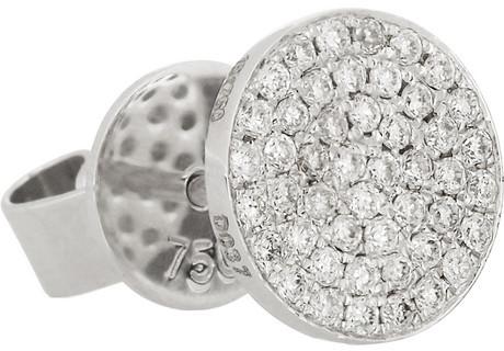 Anita Ko Disk 18-karat white gold diamond earrings