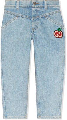 Gucci Kids GG apple denim jeans