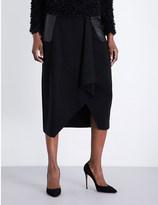 Max Mara Leather-panel asymmetric wool skirt
