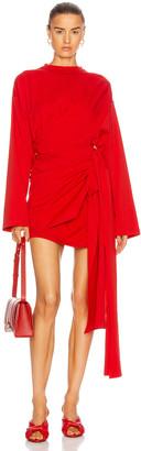 Balenciaga Short Wrap Dress in Red | FWRD