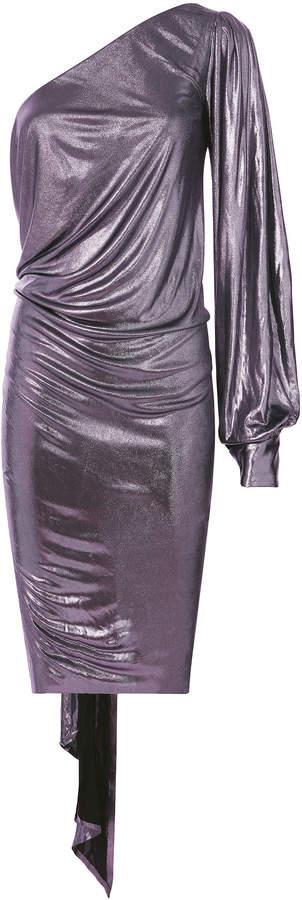 Alexandre Vauthier Lame One Shoulder Lilac Mini Dress