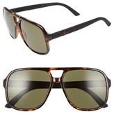 Gucci Men's Logo Temple 59Mm Aviator Sunglasses - Black Rubber/ Grey
