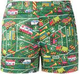 Ultràchic - Transport print shorts - women - Cotton/Spandex/Elastane - 40
