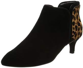 Rockport Women's Kalila Piping Bootie Ankle Boots, Schwarz (Black Kid Suede/Ocelot)