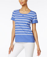 Karen Scott Striped Active Cotton T-Shirt, Created for Macy's