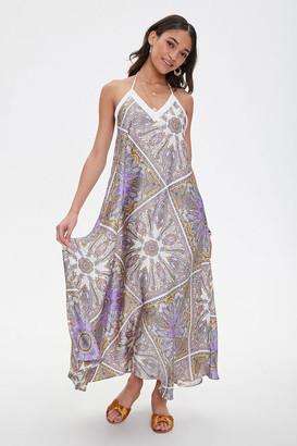 Forever 21 Satin Ornate Print Trapeze Dress