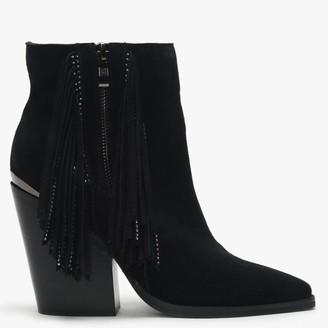 Daniel Asey Black Suede Diamante Tassel Western Boots