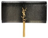 Saint Laurent Kate Monogram Genuine Python Clutch - Grey