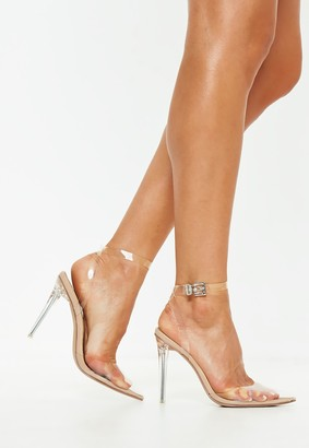 Missguided Stassie X Nude Clear Ankle Strap Court Shoes