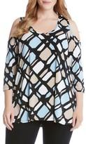Karen Kane Plus Size Women's Cold Shoulder Print Top