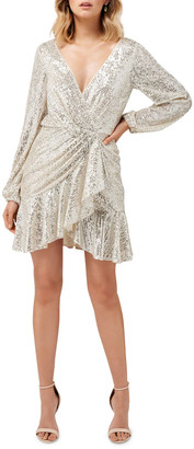 Ever New Cece Sequin Puff Sleeve Short Asymmetric Wrap Dress