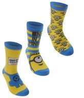 Character Kids Me Crew Socks Childs Boys Set of Three Despicable Designs