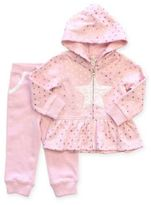 Planet Cotton® 2-Piece Peplum Lace Star Hoodie and Pant Set in Pink