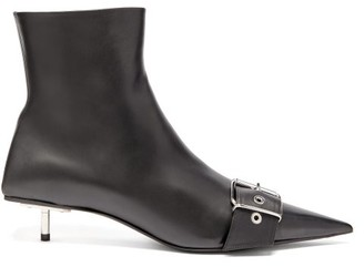 Balenciaga Square Knife Buckled Leather Ankle Boots - Black