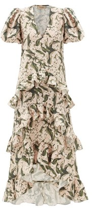 Adriana Degreas Lily Of The Valley-print Ruffled Linen-blend Dress - Green Print