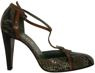 Prada Mary Jane Green Python Heels
