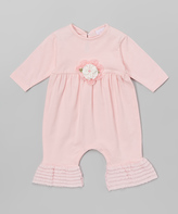 cachcach Pink Floral Ruffle Romper - Infant