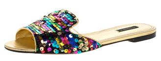 Dolce & Gabbana Multicolor Sequin Sofia Flat Slide Sandals Size 41