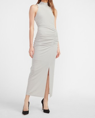 Express Velvet Mock Neck Ruched Side Midi Dress