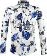 APTRO Men's 100% Cotton Long Sleeve Floral Shirt Blue Flower Printing Shirt M