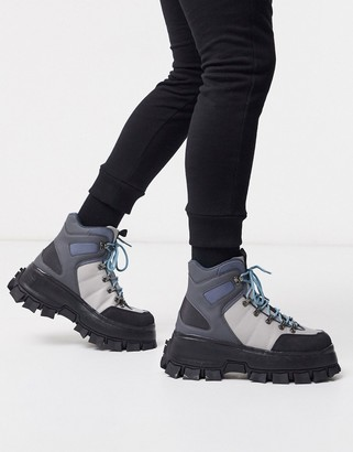 Asos DESIGN lace up boot in multi gray on chunky sole