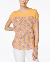 Hippie Rose Juniors' Printed Knit-Yoke T-Shirt