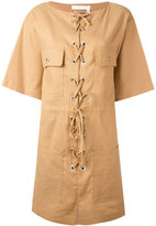 See by Chloe lace-up shift dress - women - Cotton/Linen/Flax/Spandex/Elastane - 38