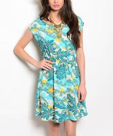Teal & Aqua Floral Cap-Sleeve Dress