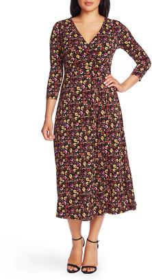 Chaus Mountain Blossom Ruched Waist Midi Dress